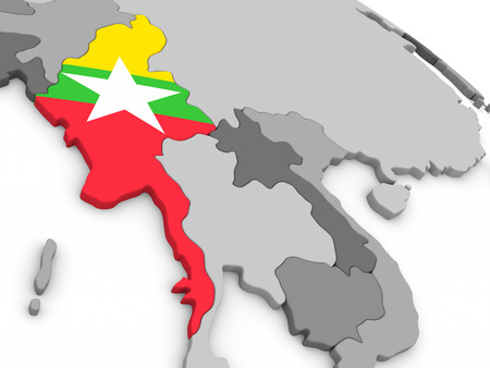 burmese: Map of Myanmar with embedded national flag. 3D illustration Stock Photo