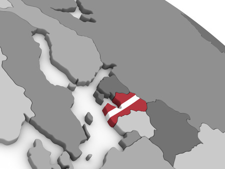 embedded: Map of Latvia with embedded national flag. 3D illustration