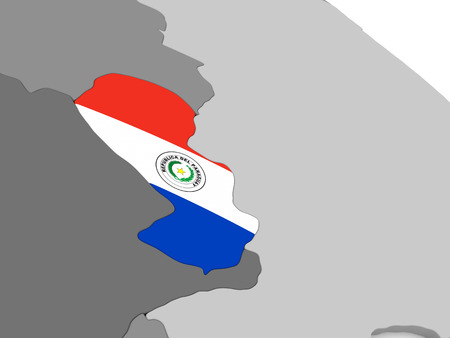 embedded: Map of Paraguay with embedded national flag. 3D illustration