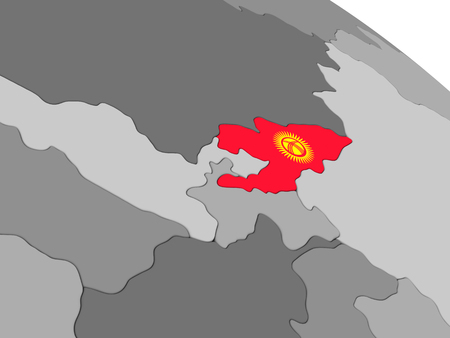 embedded: Map of Kyrgyzstan with embedded national flag. 3D illustration Stock Photo
