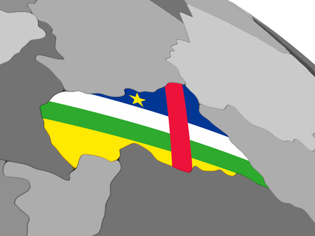 embedded: Map of Central Africa with embedded national flag. 3D illustration Stock Photo