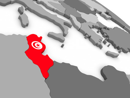 embedded: Map of Tunisia with embedded national flag. 3D illustration Stock Photo