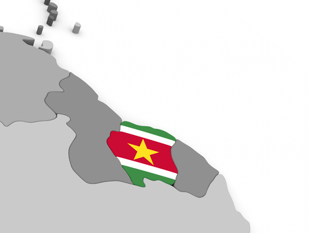 suriname: Map of Suriname with embedded national flag. 3D illustration Stock Photo