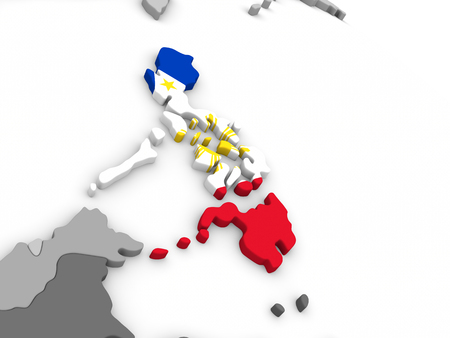filipino: Map of Philippines with embedded national flag. 3D illustration Stock Photo