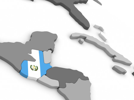 guatemalan: Map of Guatemala with embedded national flag. 3D illustration