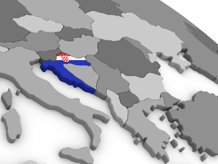 diplomacy: Map of Croatia with embedded national flag. 3D illustration