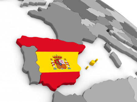 embedded: Map of Spain with embedded national flag. 3D illustration