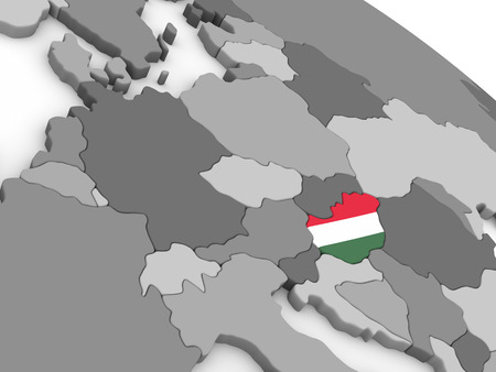 magyar: Map of Hungary with embedded national flag. 3D illustration Stock Photo
