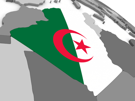 embedded: Map of Algeria with embedded national flag. 3D illustration