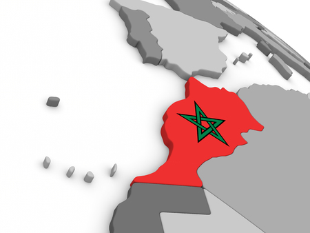 embedded: Map of Morocco with embedded national flag. 3D illustration