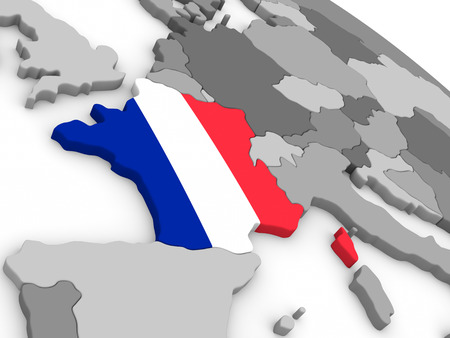 embedded: Map of France with embedded national flag. 3D illustration