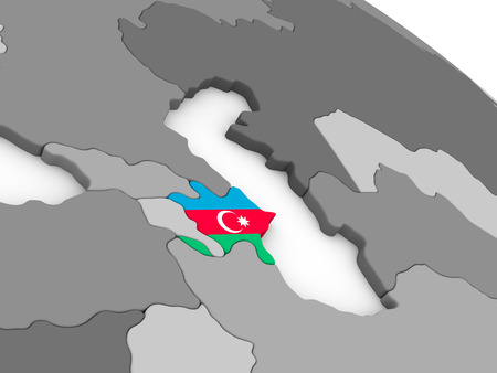 embedded: Map of Azerbaijan with embedded national flag. 3D illustration