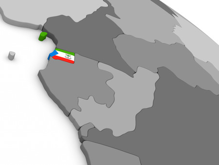 equatorial: Map of Equatorial Guinea with embedded national flag. 3D illustration