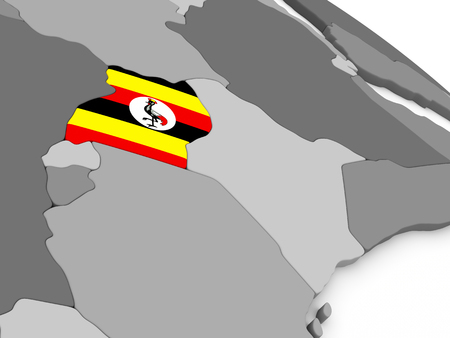 embedded: Map of Uganda with embedded national flag. 3D illustration Stock Photo