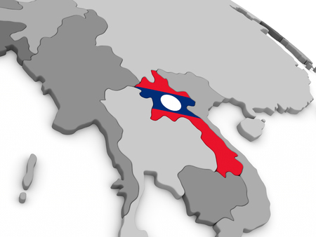 embedded: Map of Laos with embedded national flag. 3D illustration Stock Photo