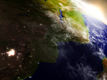 coastline: Mozambique and Zimbabwe region from Earths orbit in space during sunrise. 3D illustration with highly detailed realistic planet surface. Stock Photo