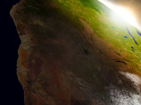 kalahari desert: Namibia and Botswana region from Earths orbit in space during sunrise. 3D illustration with highly detailed realistic planet surface. Stock Photo