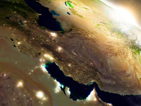 gulf: Iran region from Earths orbit in space during sunrise. 3D illustration with highly detailed realistic planet surface. Stock Photo