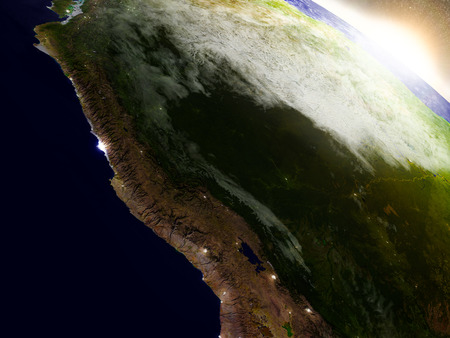 amazon rainforest: Peru region from Earths orbit in space during sunrise. 3D illustration with highly detailed realistic planet surface.