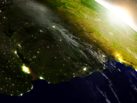 Uruguay region from Earths orbit in space during sunrise. 3D illustration with highly detailed realistic planet surface. Stock Photo