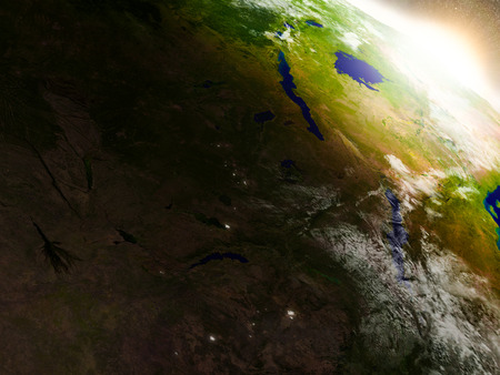 shire: Zambia region from Earths orbit in space during sunrise. 3D illustration with highly detailed realistic planet surface.