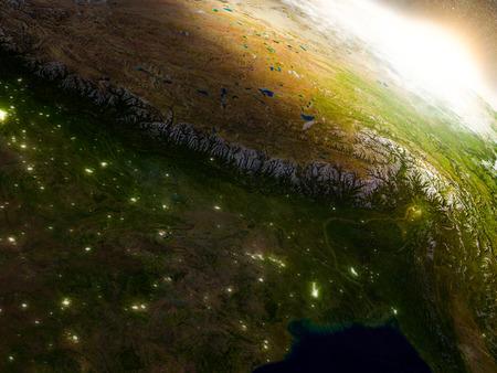 日の出時に領域で地球の軌道からネパール、ブータンの地域。非常に詳細な現実的な惑星の表面に 3 D のイラスト。 写真素材