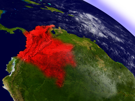 republic of colombia: Colombia highlighted in red as seen from Earths orbit in space. 3D illustration with highly detailed planet surface. Elements of this image furnished by NASA.