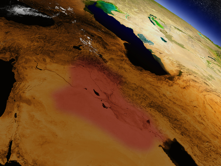 environment geography: Iraq highlighted in red as seen from Earths orbit in space. 3D illustration with highly detailed planet surface. Stock Photo