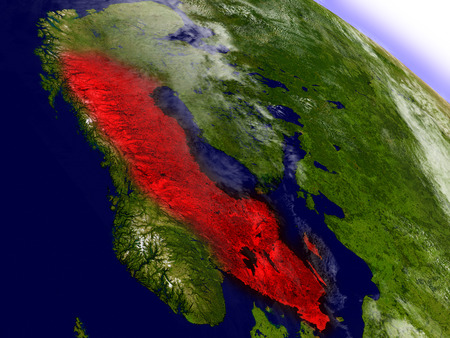 environment geography: Sweden highlighted in red as seen from Earths orbit in space. 3D illustration with highly detailed planet surface.
