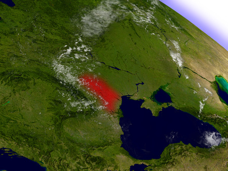 Moldova highlighted in red as seen from Earths orbit in space. 3D illustration with highly detailed planet surface.