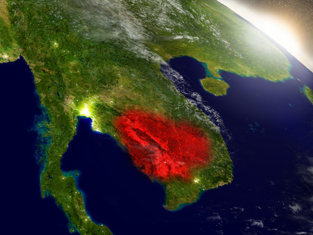 cambodian: Cambodia highlighted in red as seen from Earths orbit in space. 3D illustration with highly detailed planet surface.