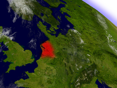 an orbit: Netherlands highlighted in red as seen from Earths orbit in space. 3D illustration with highly detailed planet surface.
