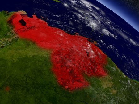 Venezuela highlighted in red as seen from Earths orbit in space. 3D illustration with highly detailed planet surface.