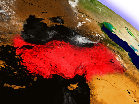 Turkey highlighted in red as seen from Earths orbit in space. 3D illustration with highly detailed planet surface. Stock Photo