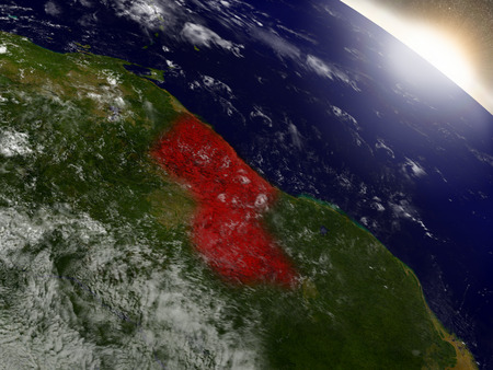 Guyana highlighted in red as seen from Earths orbit in space. 3D illustration with highly detailed planet surface.