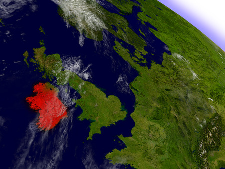 irish map: Ireland highlighted in red as seen from Earths orbit in space. 3D illustration with highly detailed planet surface.