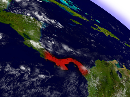 panamanian: Panama highlighted in red as seen from Earths orbit in space. 3D illustration with highly detailed planet surface.
