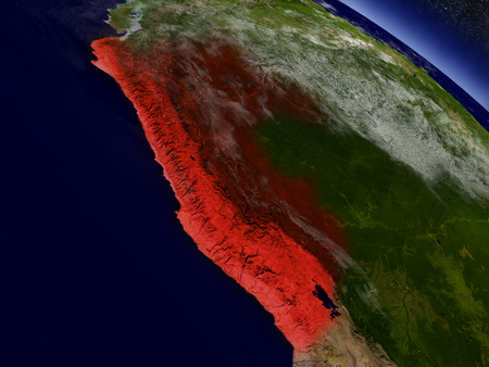 republic of peru: Peru highlighted in red as seen from Earths orbit in space. 3D illustration with highly detailed planet surface.