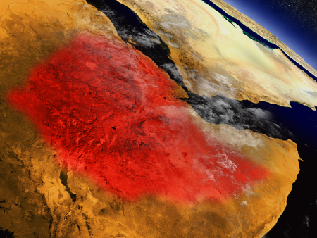 Ethiopia highlighted in red as seen from Earths orbit in space. 3D illustration with highly detailed planet surface. Stock Photo