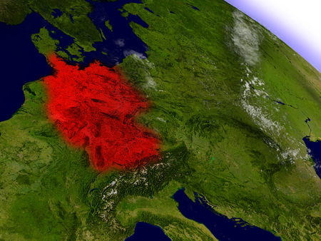 Germany highlighted in red as seen from Earths orbit in space. 3D illustration with highly detailed planet surface.