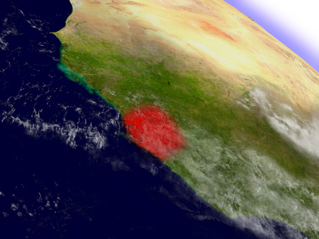 environment geography: Sierra Leone highlighted in red as seen from Earths orbit in space. 3D illustration with highly detailed planet surface.