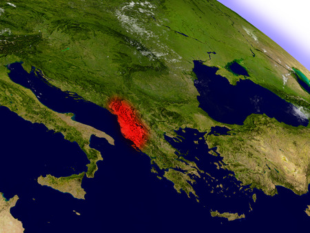 an orbit: Albania highlighted in red as seen from Earths orbit in space. 3D illustration with highly detailed planet surface.