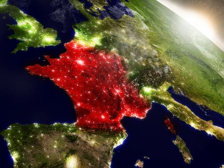 francaise: France highlighted in red as seen from Earths orbit in space. 3D illustration with highly detailed planet surface. Stock Photo