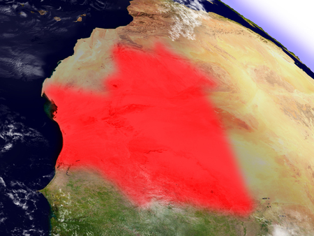 environment geography: Mauritania highlighted in red as seen from Earths orbit in space. 3D illustration with highly detailed planet surface.