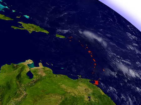 Caribbean highlighted in red as seen from Earths orbit in space. 3D illustration with highly detailed planet surface.