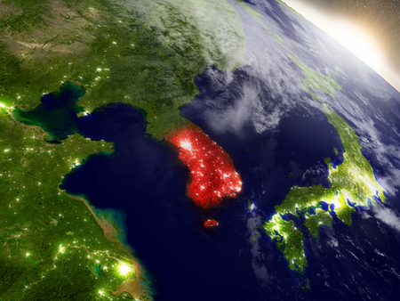 south space: South Korea highlighted in red as seen from Earths orbit in space. 3D illustration with highly detailed planet surface.