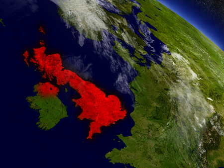 United Kingdom highlighted in red as seen from Earths orbit in space. 3D illustration with highly detailed planet surface.