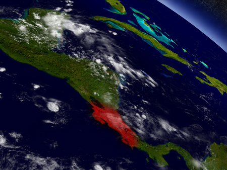 Costa Rica highlighted in red as seen from Earths orbit in space. 3D illustration with highly detailed planet surface.