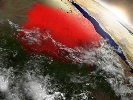 environment geography: Sudan highlighted in red as seen from Earths orbit in space. 3D illustration with highly detailed planet surface. Stock Photo