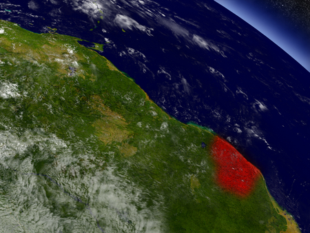 French Guiana highlighted in red as seen from Earths orbit in space. 3D illustration with highly detailed planet surface.